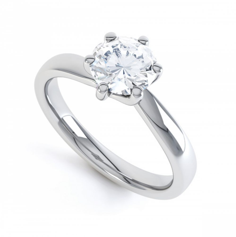 6 Claw Twist Solitaire Diamond ring - perspective White