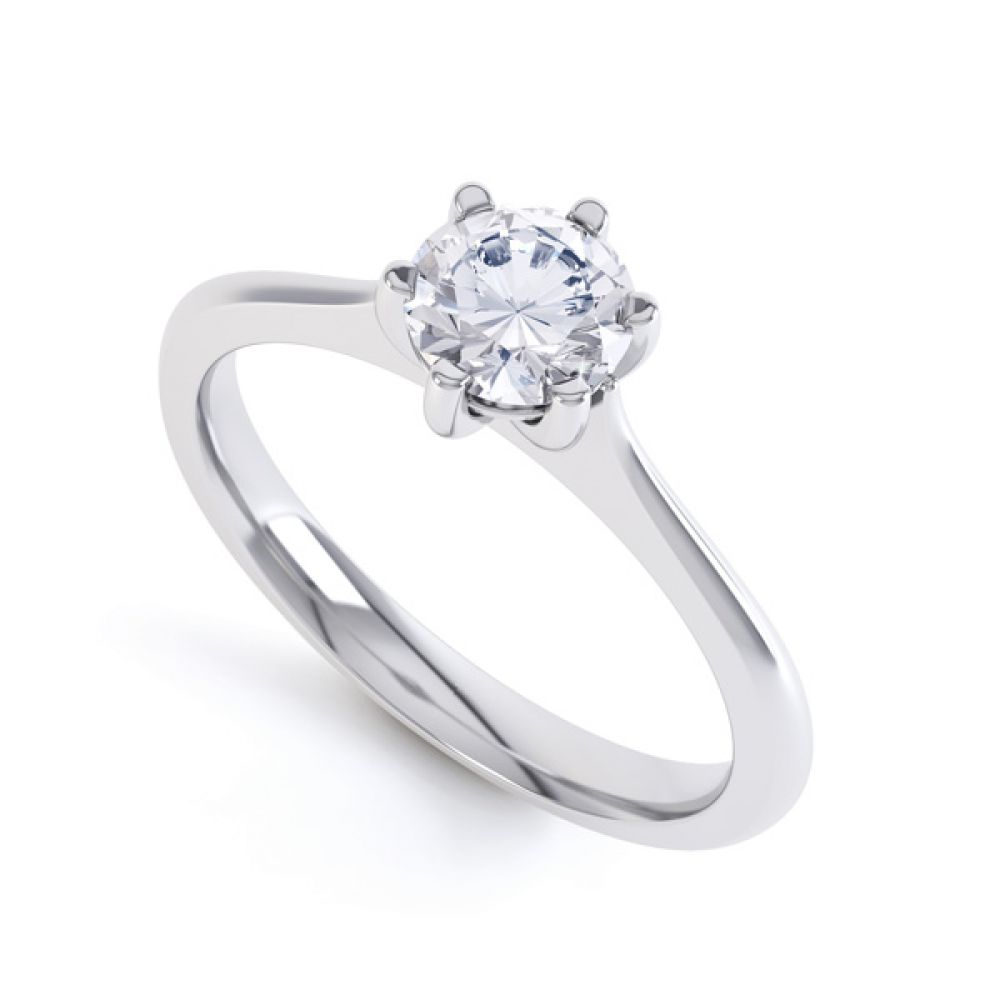 6 Claw Diamond Engagement Ring with Basket Setting