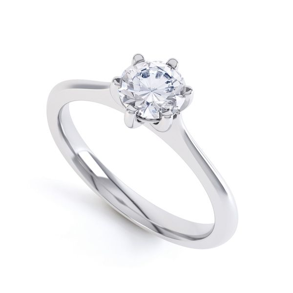 6 Claw Diamond Engagement Ring with Basket Setting Main Image