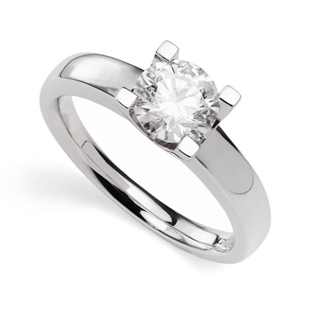 Berlin diamond engagement ring, solitaire design with squared claws showing 1 carat example in Platinum