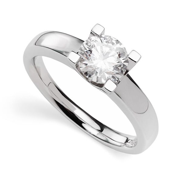 Square Pronged Round Diamond Engagement Ring Main Image