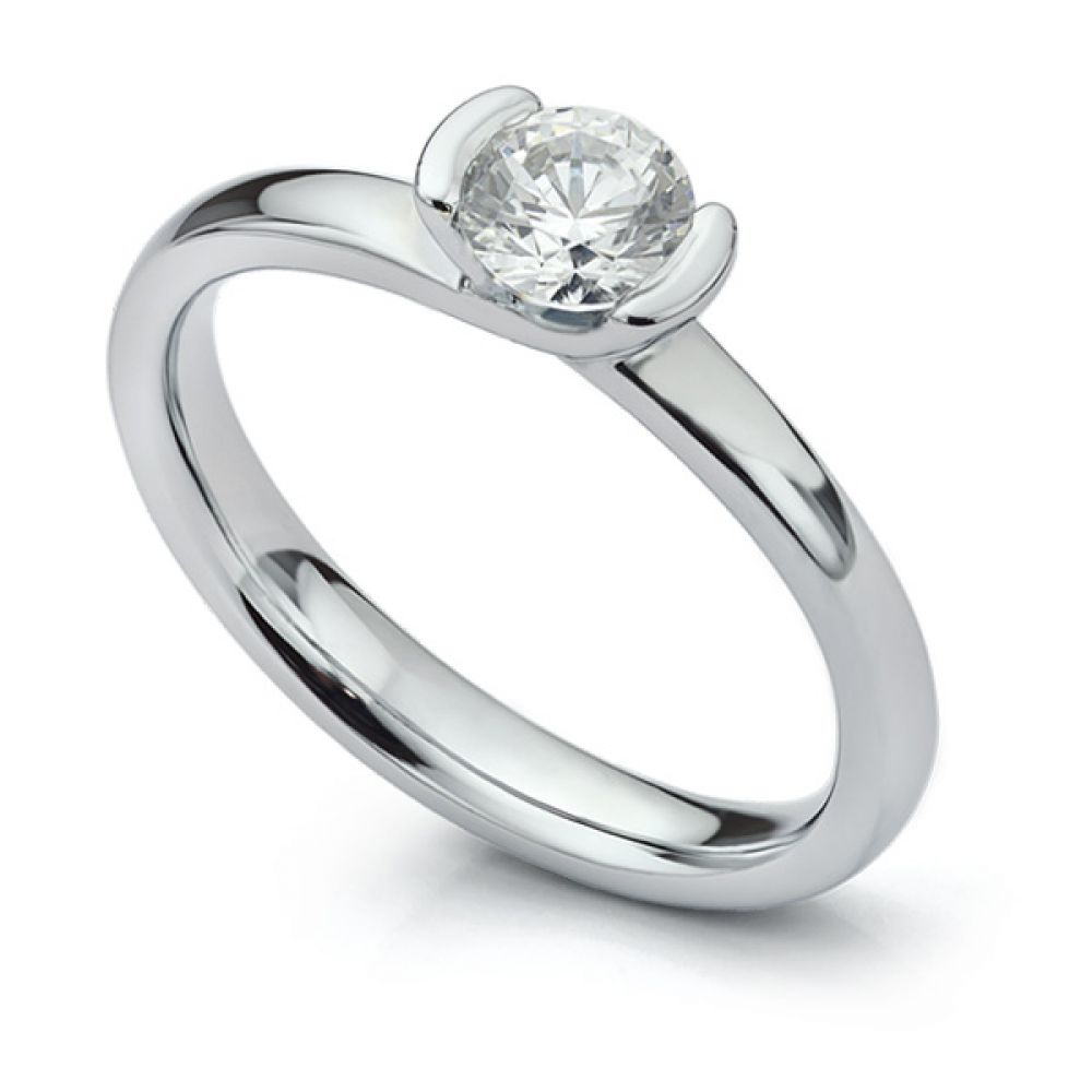 Semi-bezel set engagement ring Annabelle in Platinum perspective view