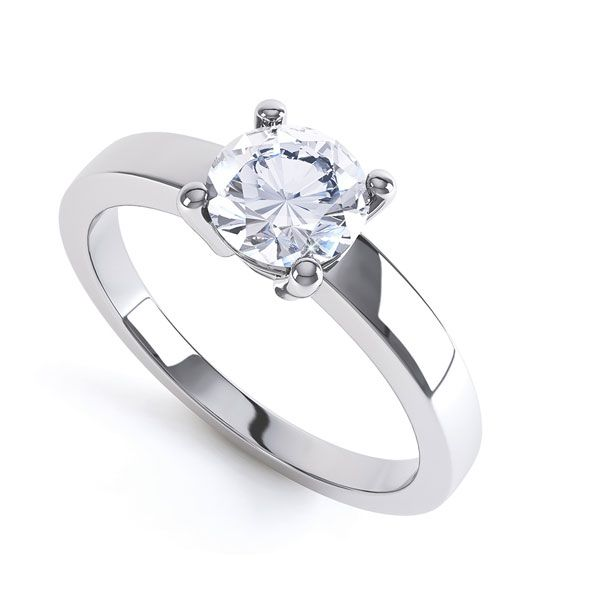 Round 4 Claw Engagement Ring with Straight Shoulders Main Image