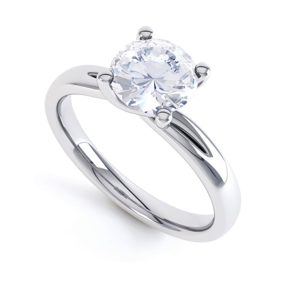 4 Claw Twist Engagement Ring with Double Shoulders