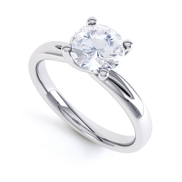 4 Claw Twist Engagement Ring with Double Shoulders Main Image