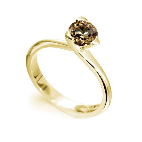 Chocolate Brown Diamond Three Claw Ring Main Image