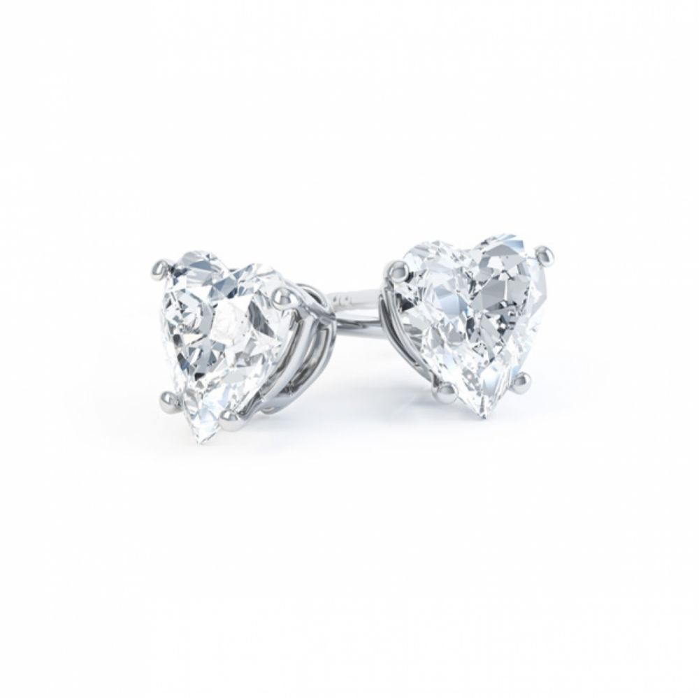 4 Claw Heart Shaped Diamond Solitaire Earrings