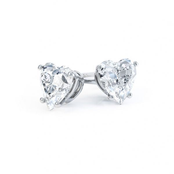 4 Claw Heart Shaped Diamond Solitaire Earrings Main Image