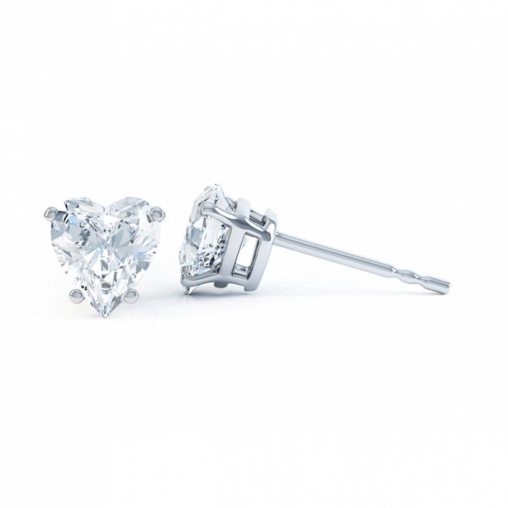 4 Claw Heart Shaped Diamond Solitaire Earrings Side View