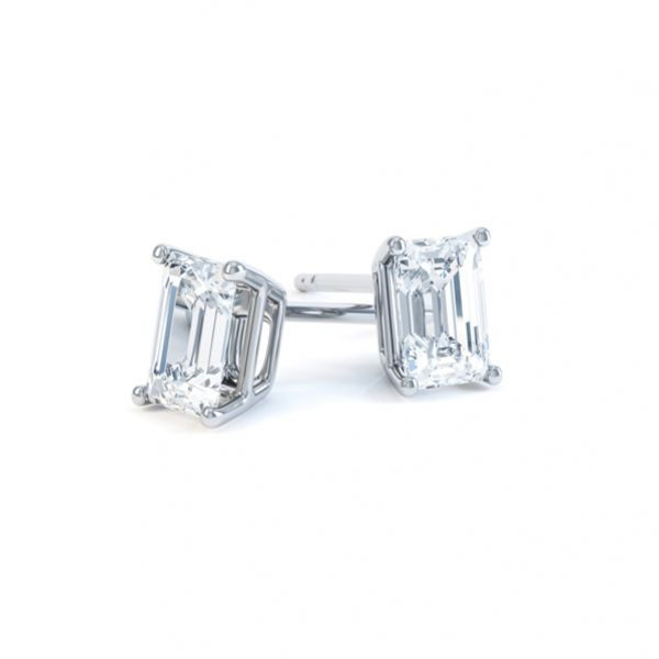 4 Claw Emerald Cut Diamond Stud Earrings Main Image