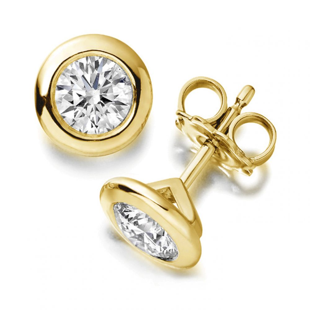 Diamond Bezel Stud Earrings With Yellow Gold Stems
