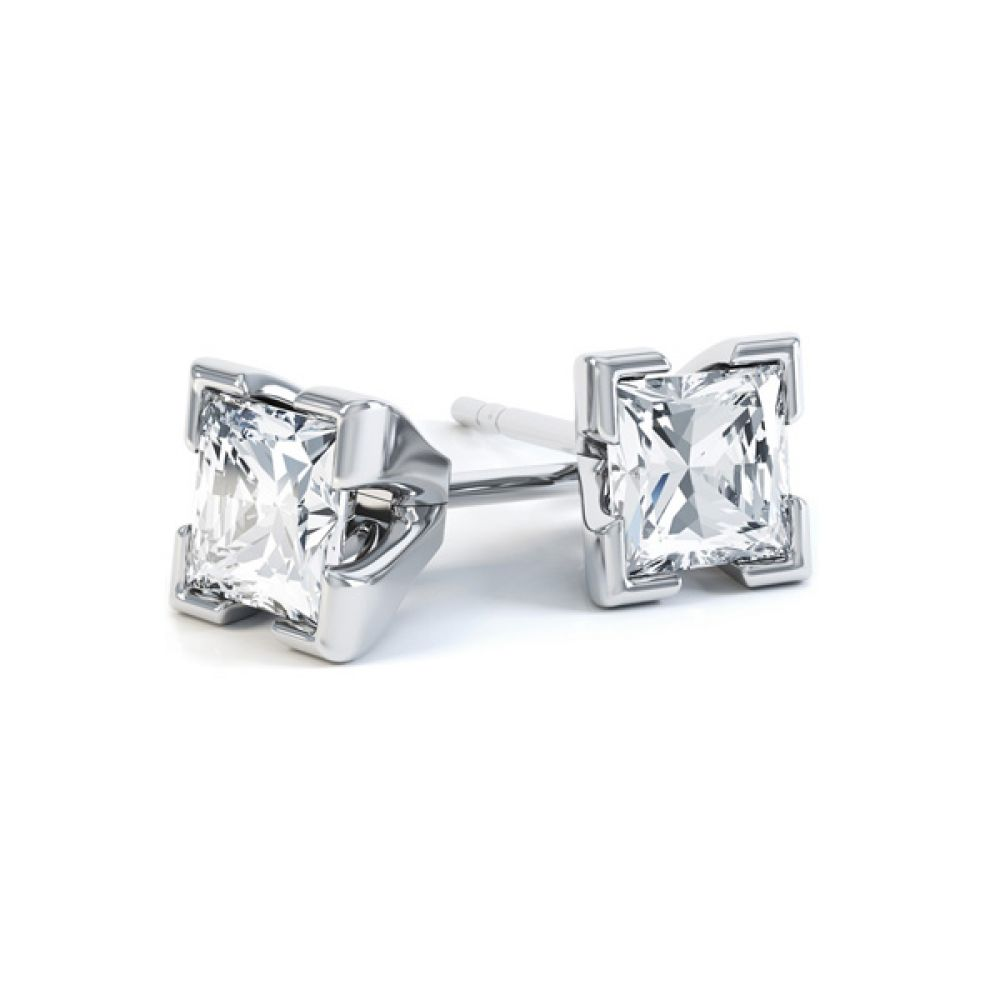 4 Claw Tiffany Style Princess Cut Diamond Earrings