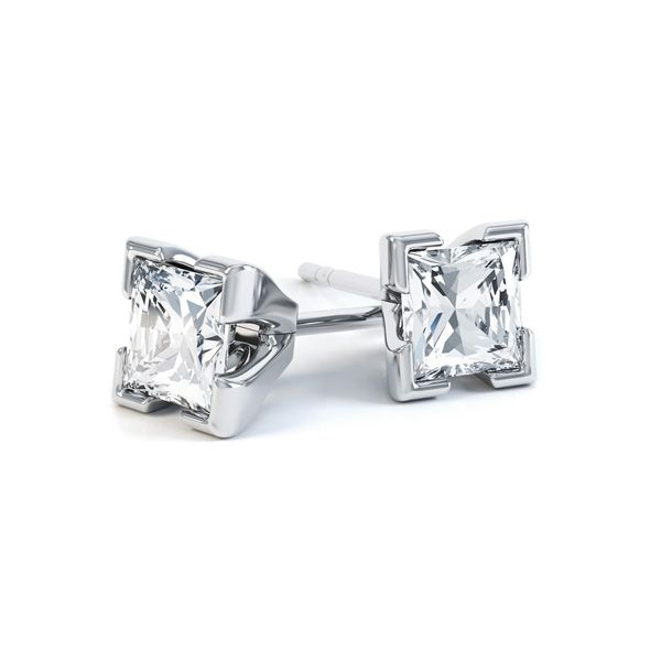4 Claw Tiffany Style Princess Cut Diamond Earrings Main Image