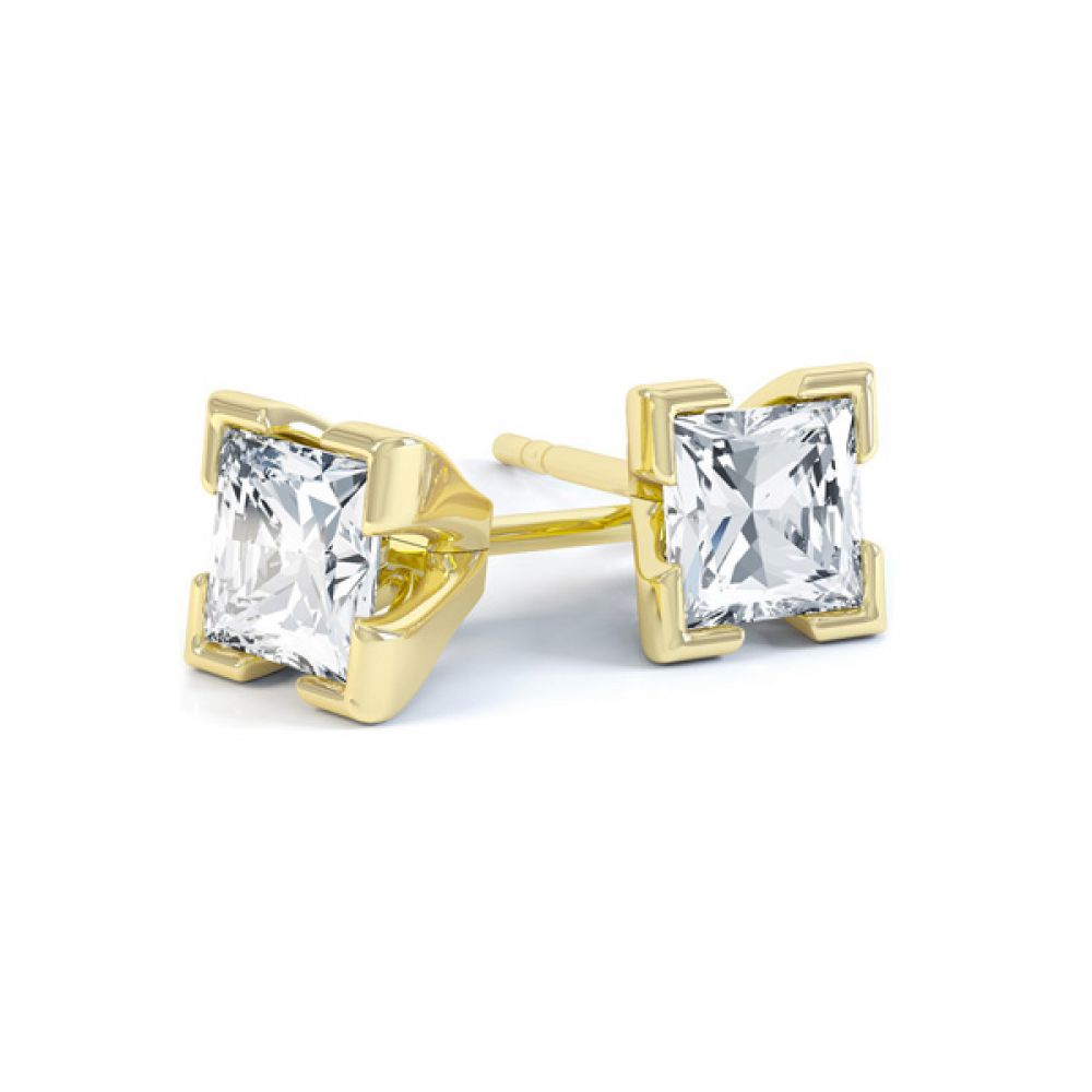 4 Claw Tiffany Style Princess Cut Diamond Earrings In Yellow Gold
