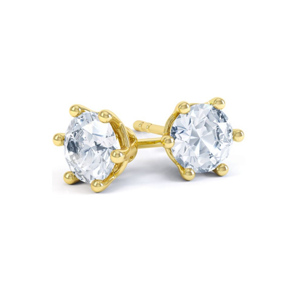 6 Claw Round Brilliant Cut Diamond Stud Earrings In Yellow Gold