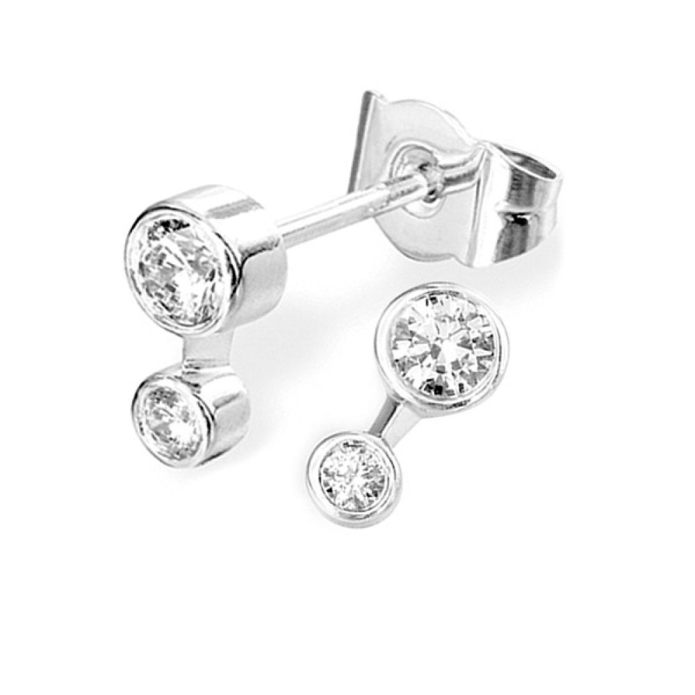 2 Stone Bezel Set Round Diamond Earrings
