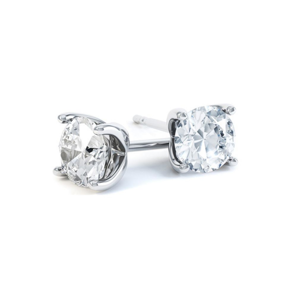 4 Claw Round Diamond Stud Earrings