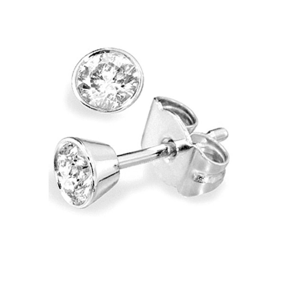 Solitaire Diamond Earrings - Tapered Bezel