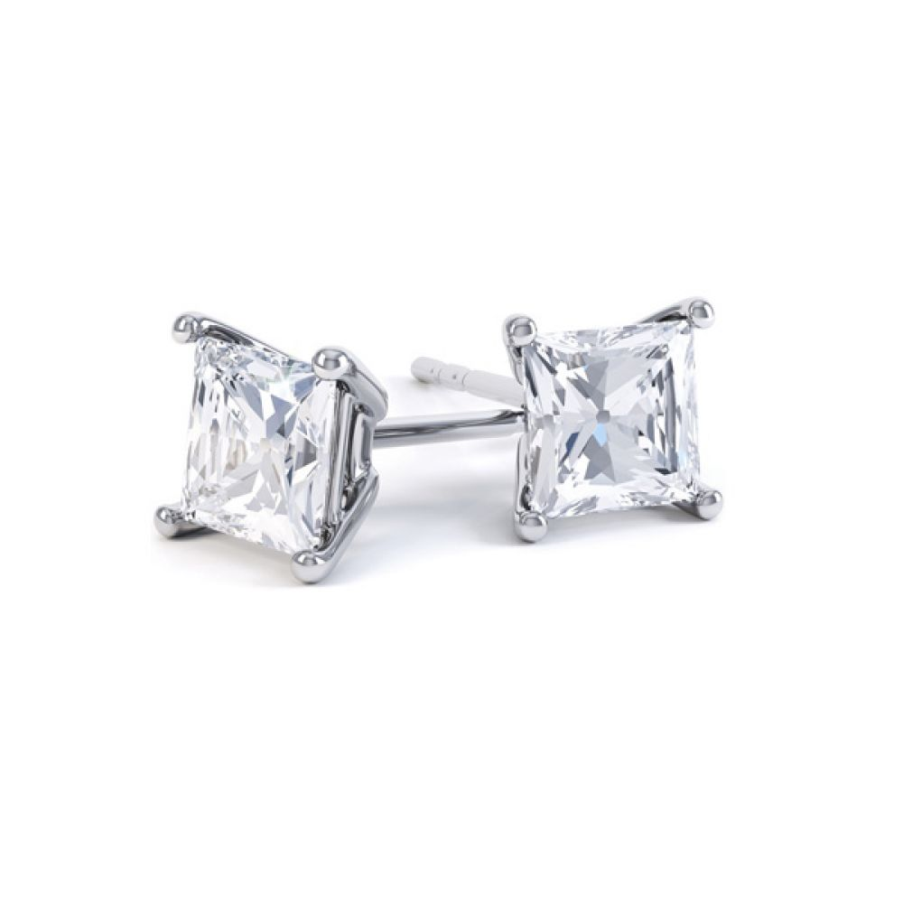 Classic 4 Claw Princess Cut Diamond Earrings