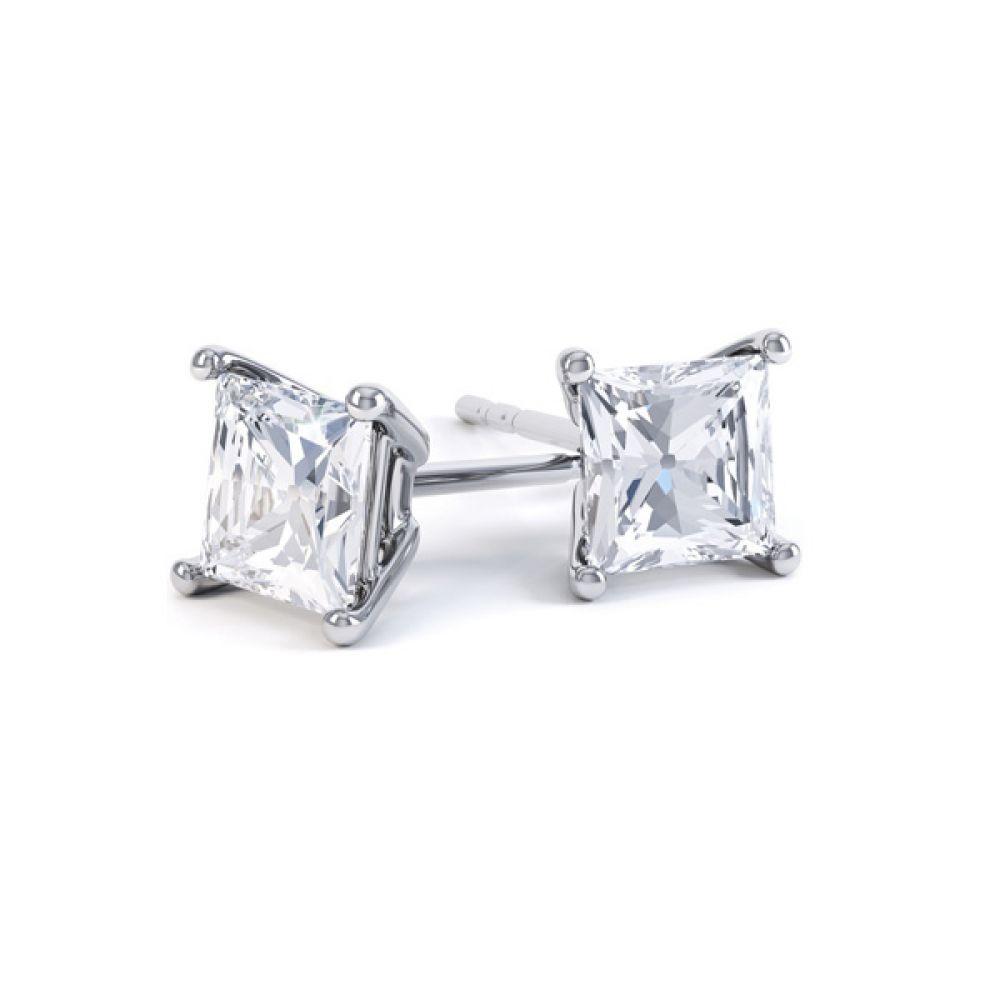 Classic 4 Claw Princess Cut Diamond Earrings