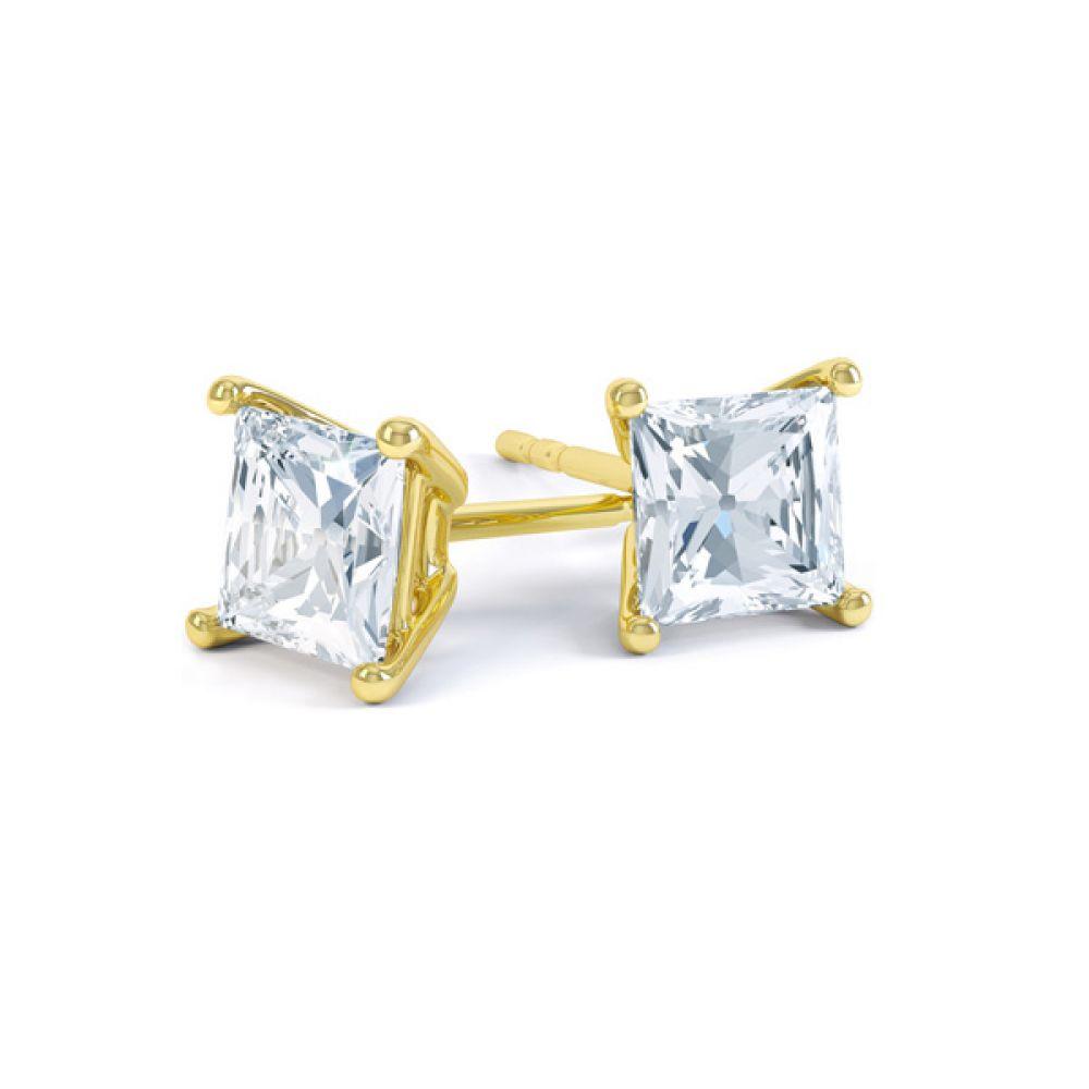 Classic 4 Claw Princess Cut Diamond Earrings In Yellow Gold