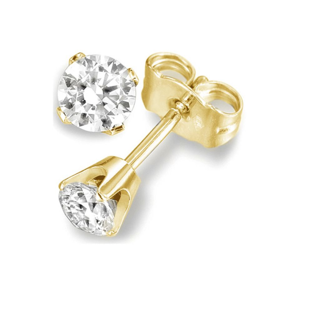 4 Claw Round Diamond Stud Earrings Rex Setting In Yellow Gold