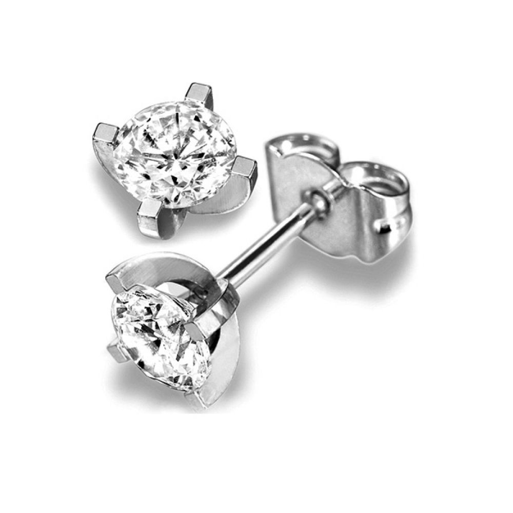 Modern 4 Claw Diamond Earrings with Basket Setting