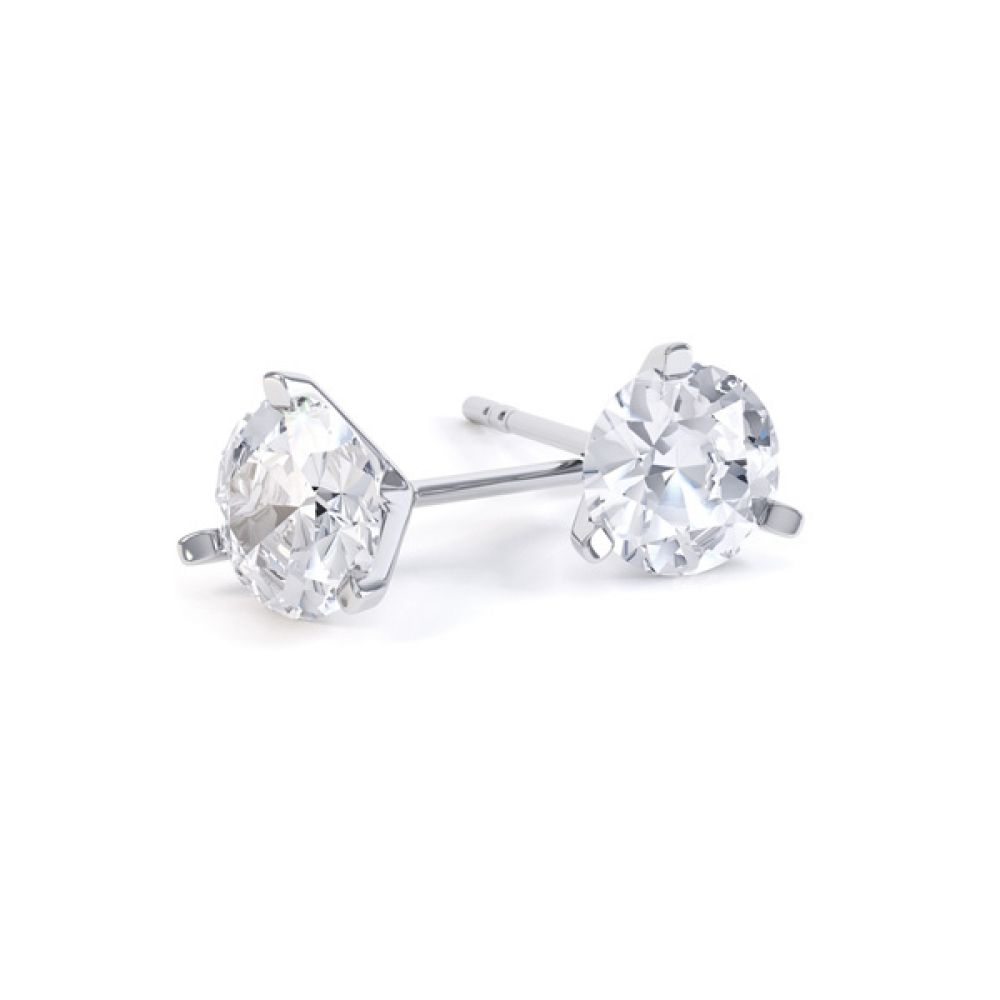3 Claw Round Brilliant Cut Diamond Stud Earrings