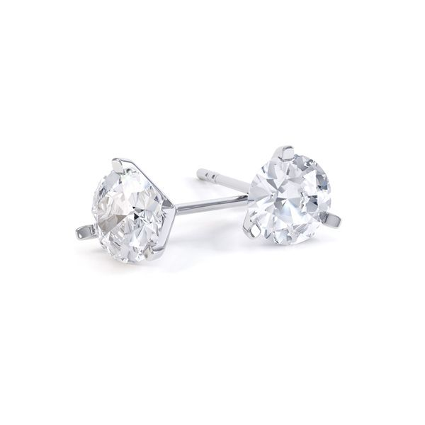 3 Claw Round Brilliant Cut Diamond Stud Earrings Main Image
