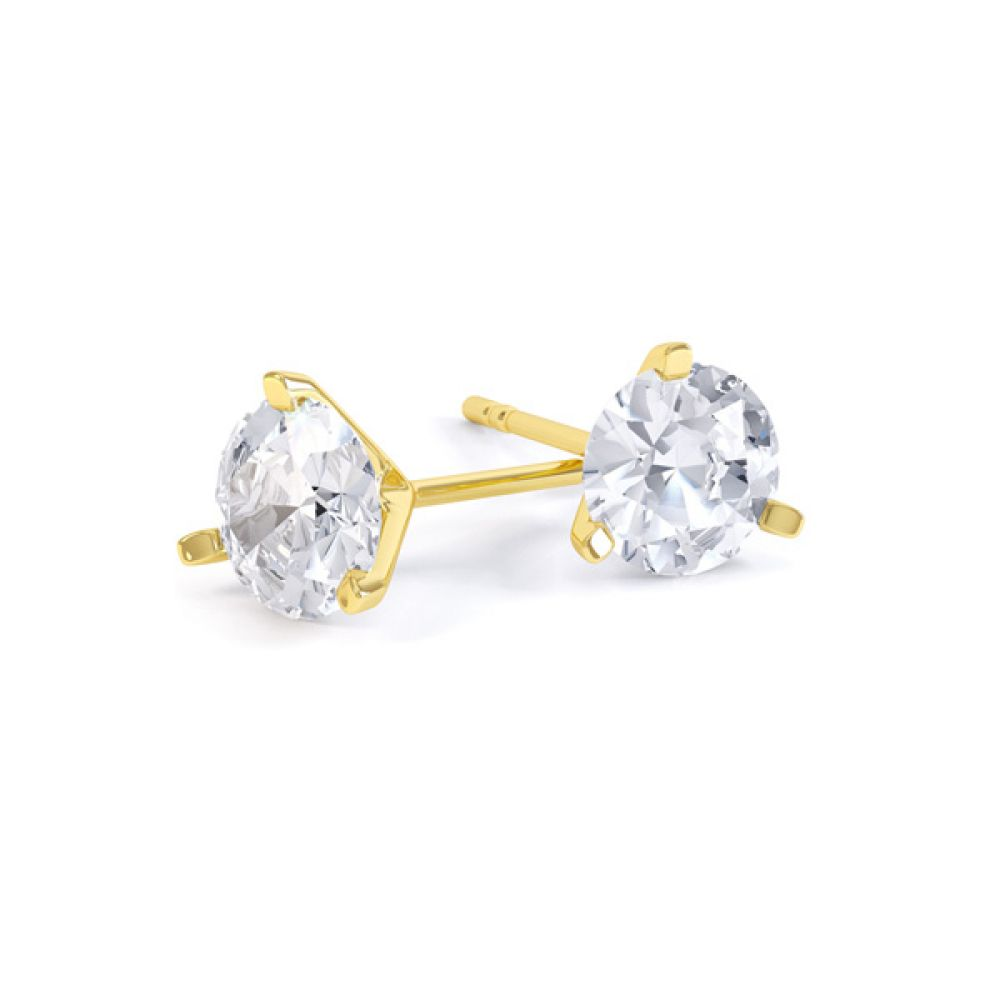 3 Claw Round Brilliant Cut Diamond Stud Earrings In Yellow Gold