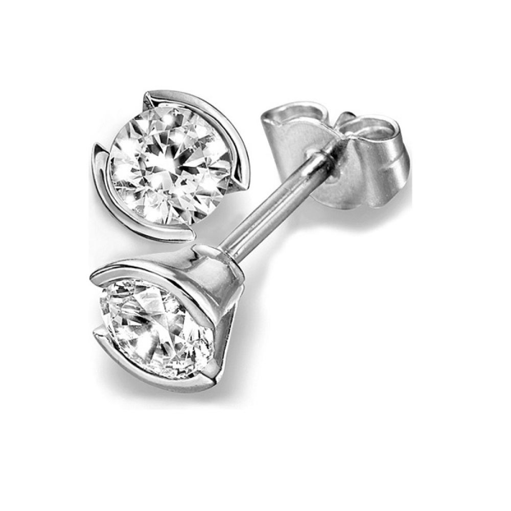 Part Bezel Set Round Brilliant Cut Diamond Stud Earrings