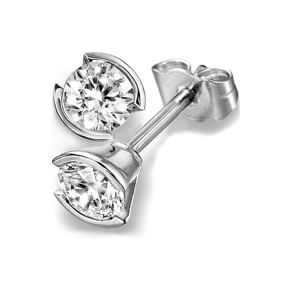 Part Bezel Diamond Stud Earrings Main Image