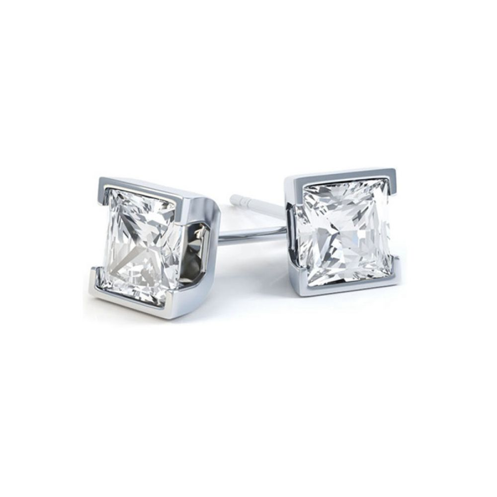 Princess Cut Diamond Earrings with Part Bezel Setting