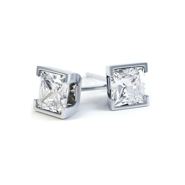 Princess Cut Diamond Earrings with Part Bezel Setting Main Image