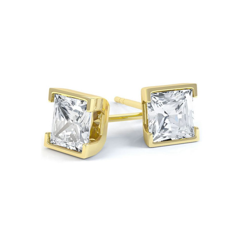 Princess Cut Diamond Earrings with Part Bezel Setting In Yellow Gold