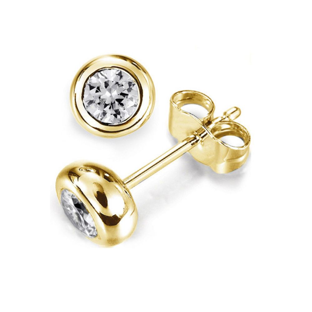 Solitaire Diamond Earrings Doughnut Bezel Setting In  Yellow Gold