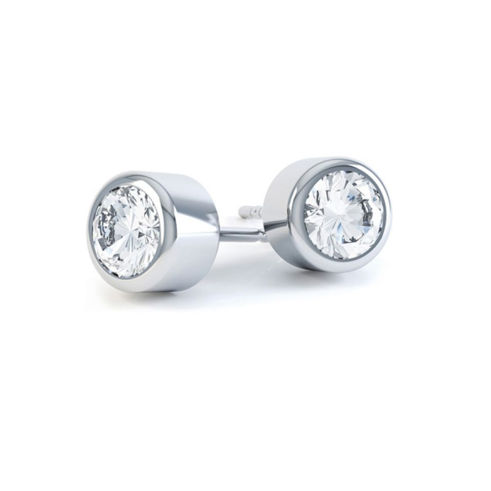 Cylindrical Bezel Round Diamond Stud Earrings