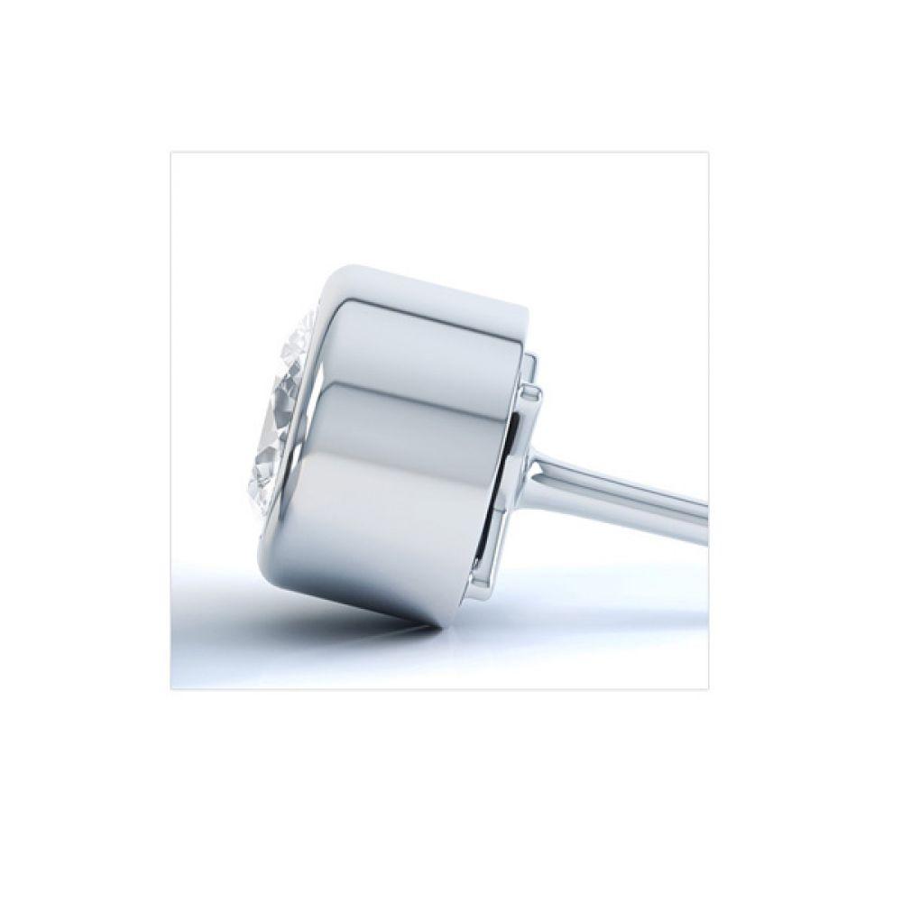 Cylindrical Bezel Round Diamond Stud Earrings Side View
