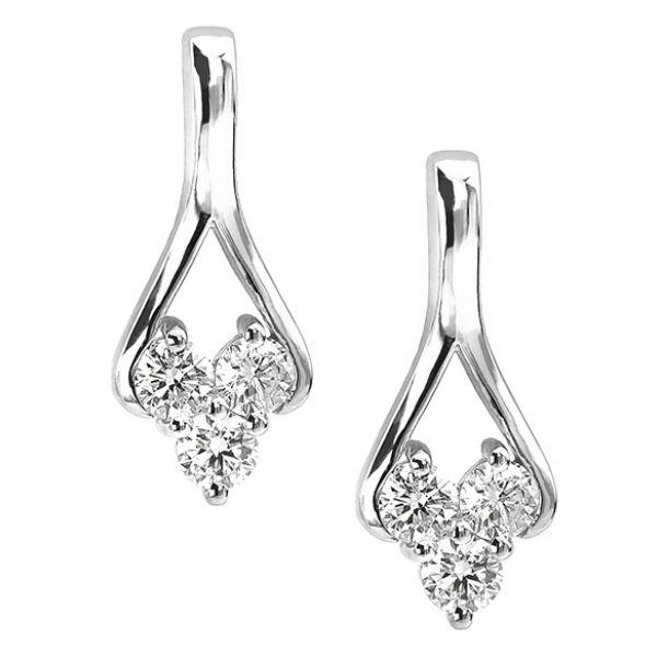 3 Stone Trilogy Diamond Drop Earrings Main Image
