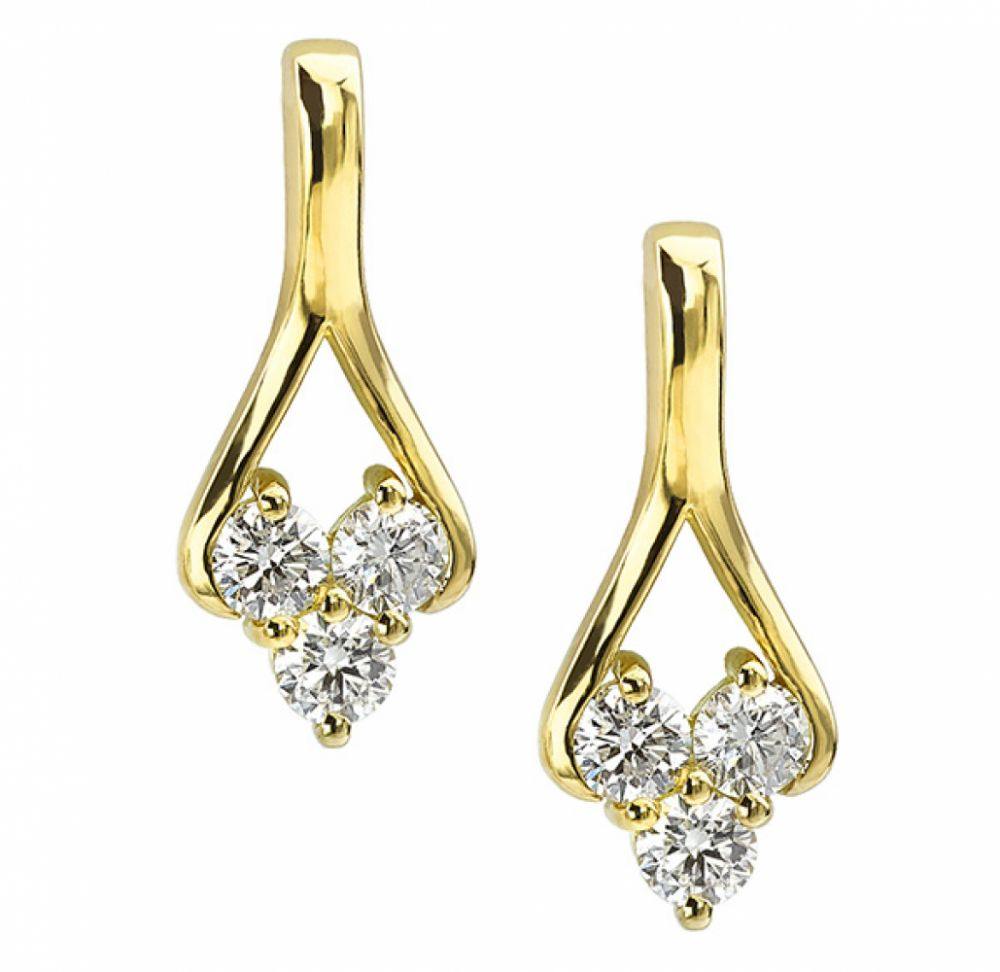 3 Stone Trilogy Style Diamond Drop Earrings In Yellow Gold