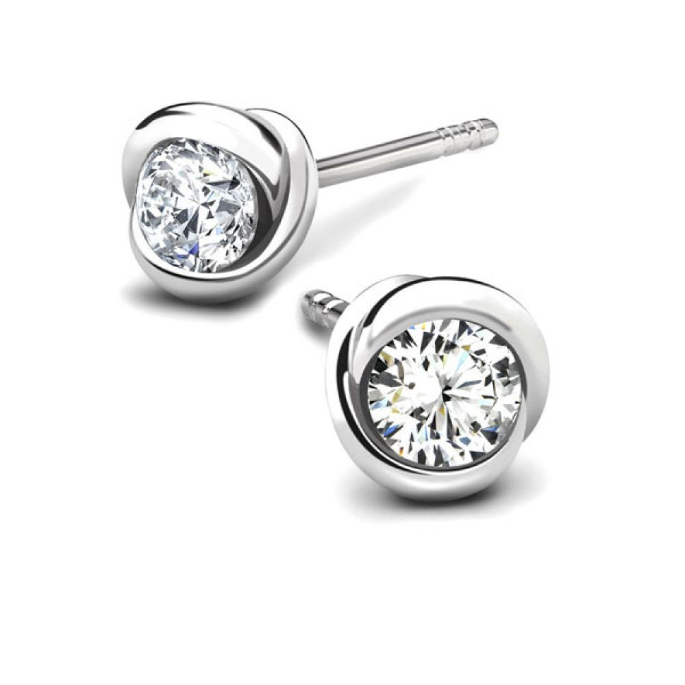 Rosebud Diamond Solitaire Earrings