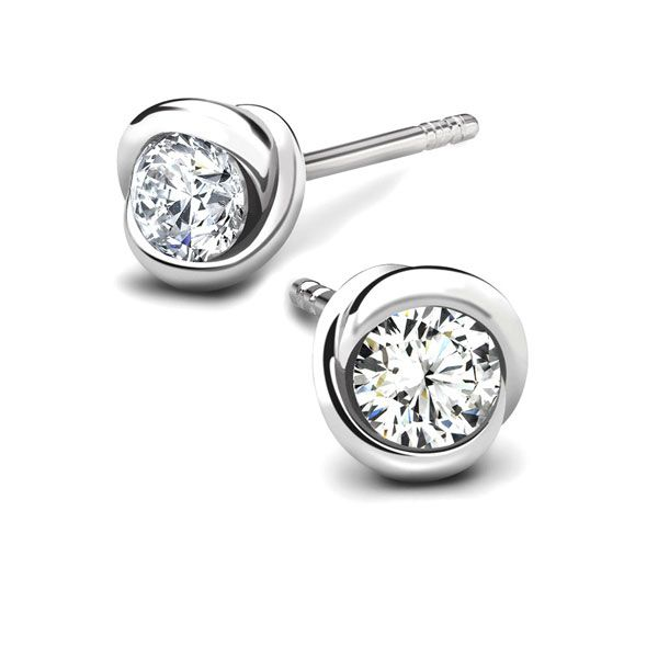 Rosebud Diamond Solitaire Earrings Main Image