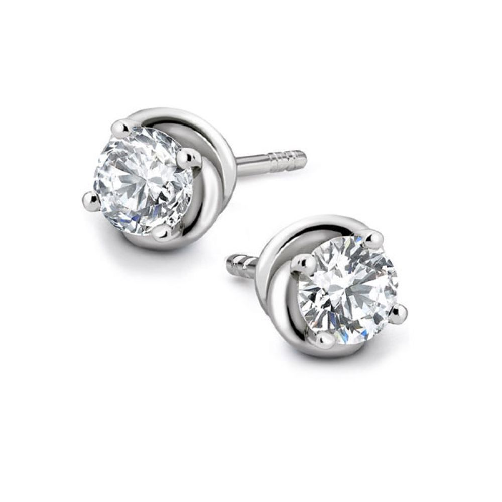 Knot Styled 4 Claw Diamond Stud Earrings