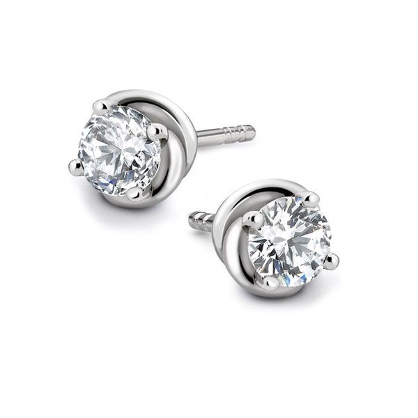 Knot Styled 4 Claw Diamond Stud Earrings  Main Image