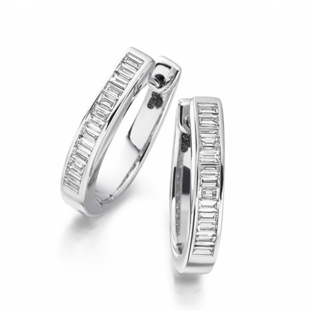 0.70cts Baguette Cut Diamond Hoop Earrings