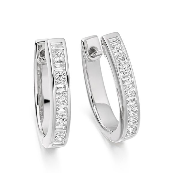 0.75cts Princess and Baguette Diamonds Hoop Earrings Main Image