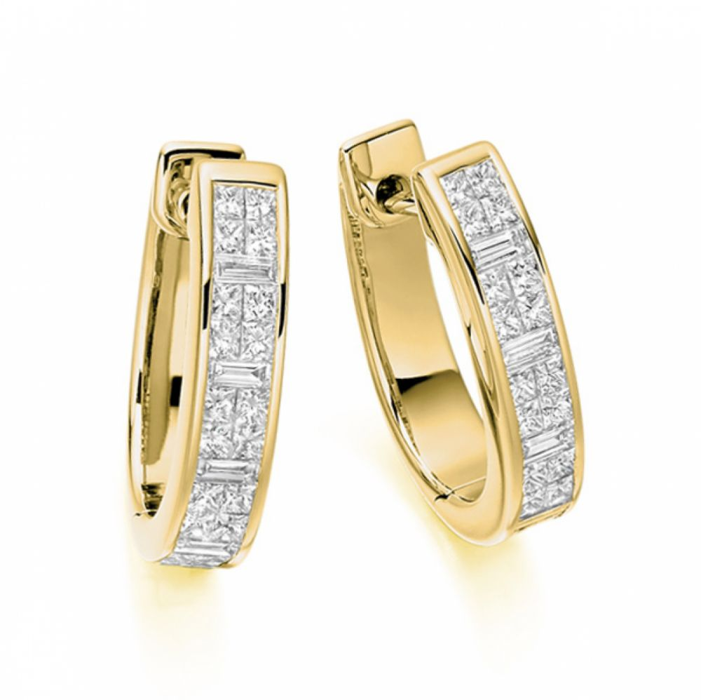 1 Carat Hoop Earrings Princess and Baguette Diamonds In Yellow Gold