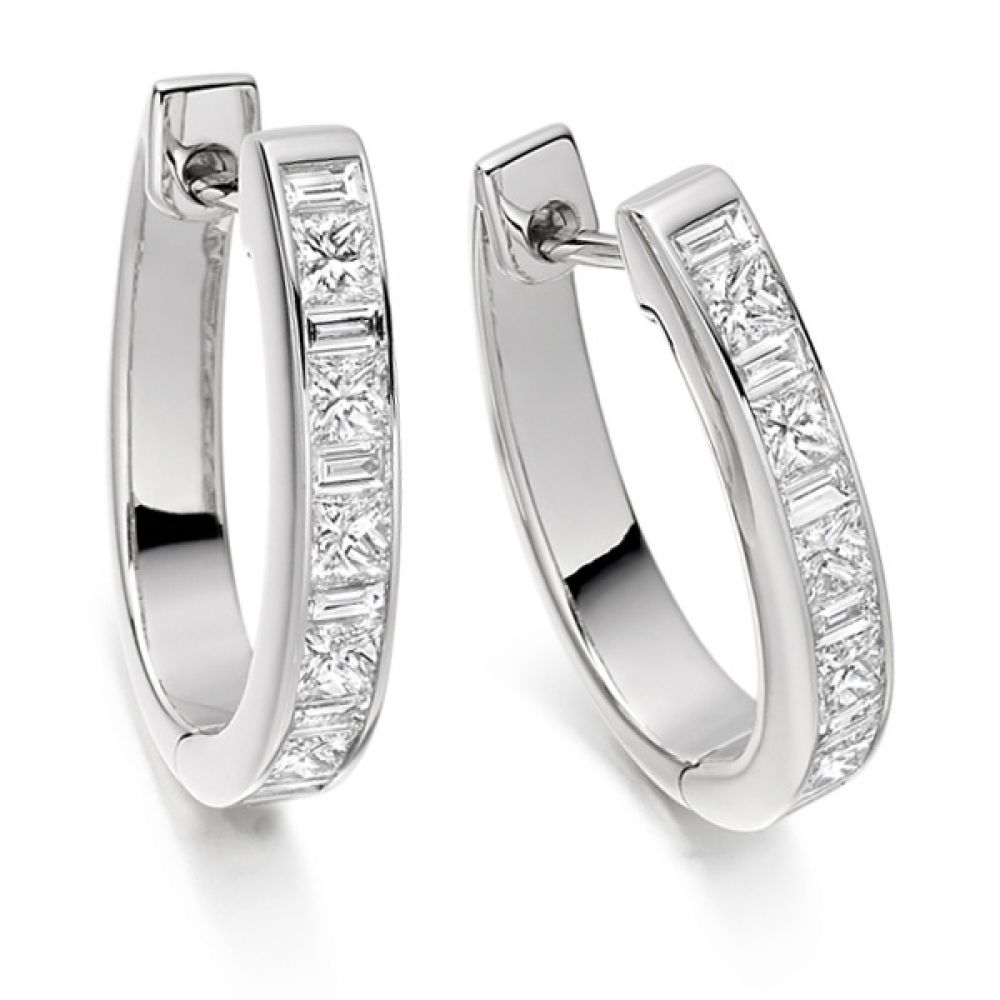 1.1 Carat Princess and Baguette Diamond Hoop Earrings