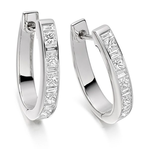 1.1 Carat Princess and Baguette Diamond Hoop Earrings Main Image