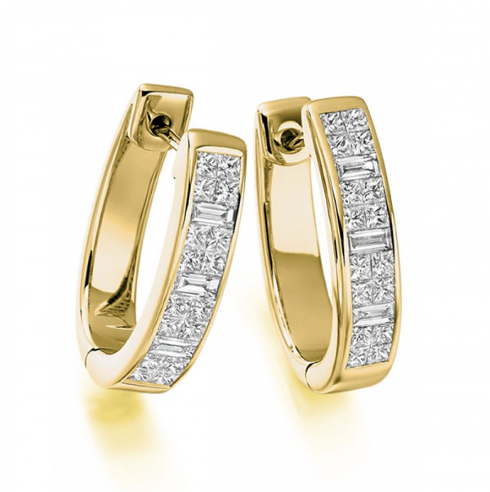 1.35cts Princess & Baguette Diamond Hoop Earrings In Yellow Gold